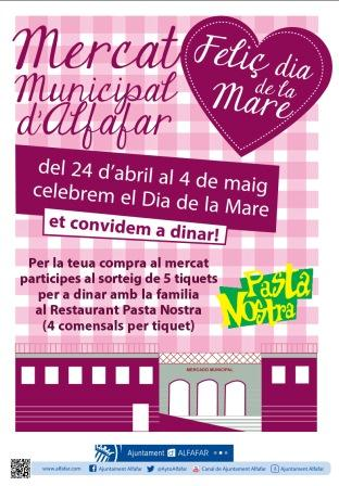 Cartel sobre Día de la Madre del Mercado Municipal de Alfafar.