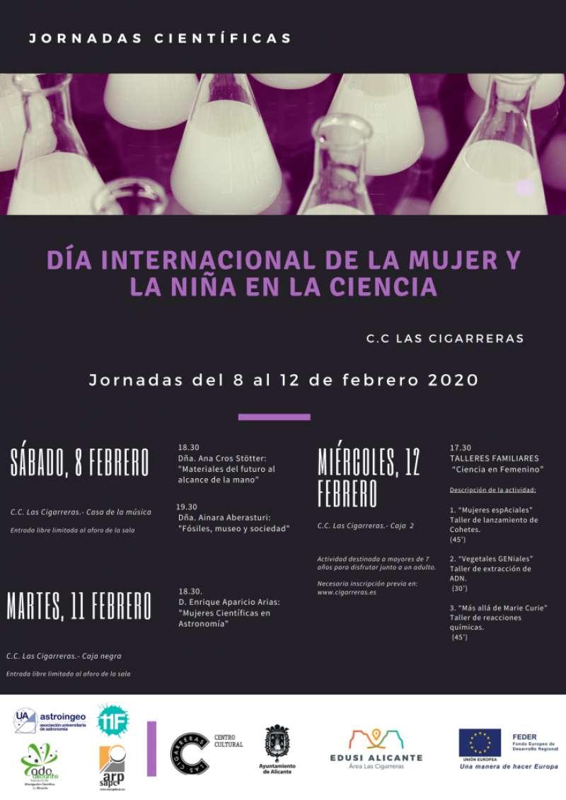 Cartel con las actividades por el Día Internacional de la mujer y la niña en la ciencia. EPDA