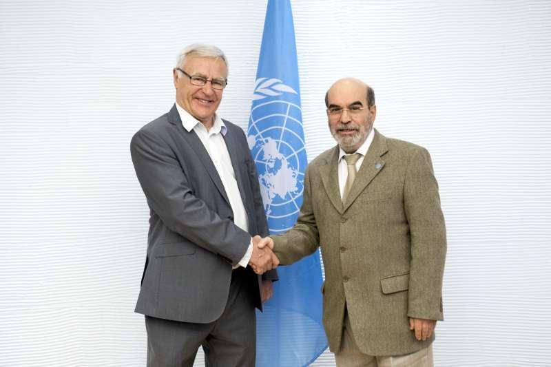 Ribó con el presidente de la FAO en la sede la organización en Roma/Foto:Alessandra Benedetti