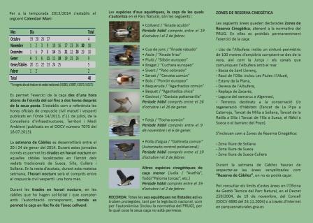 El Consell edita un folleto sobre la práctica cinegética en el parque de L