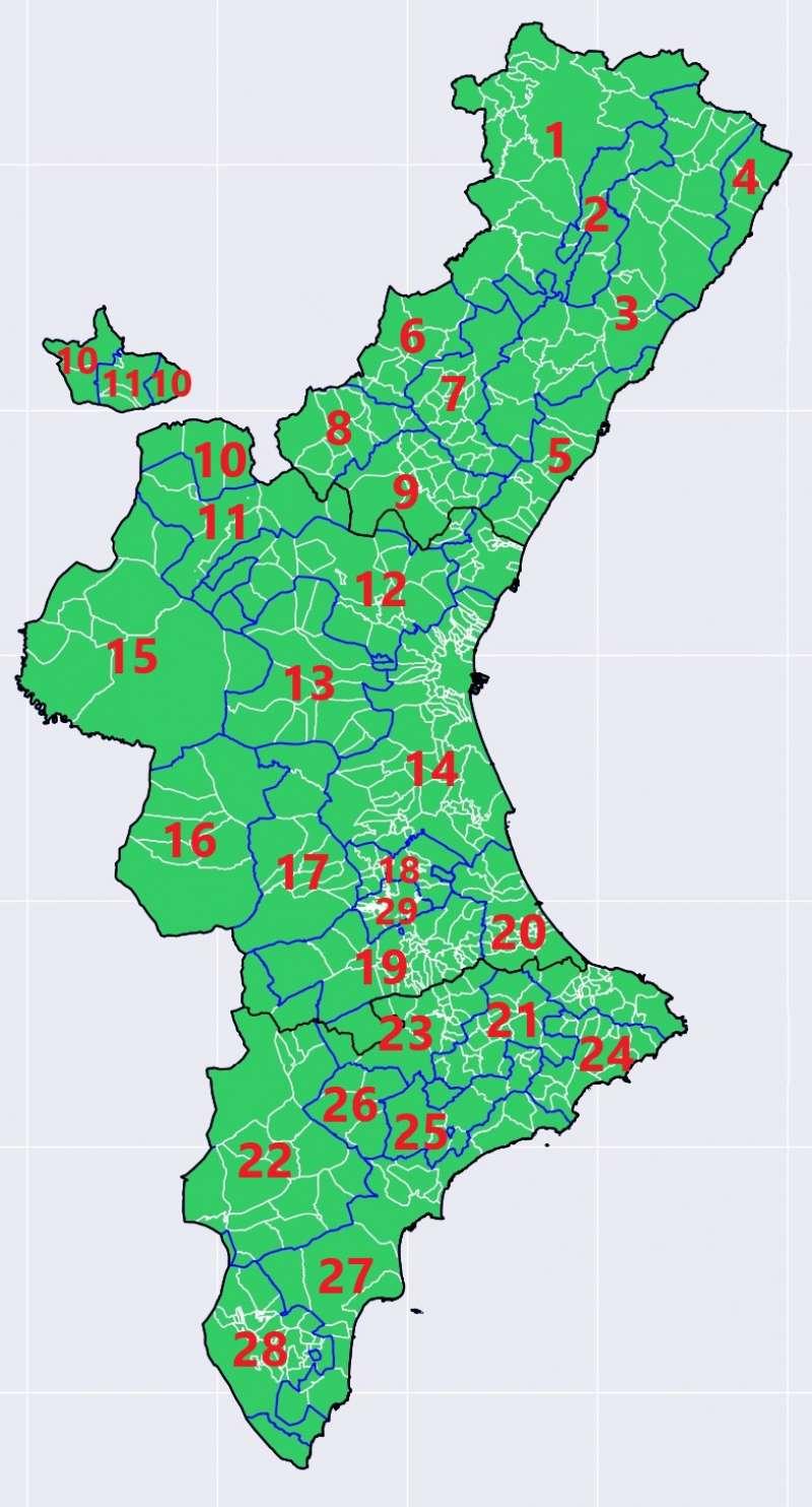 Mapa con las zona termoclimáticas