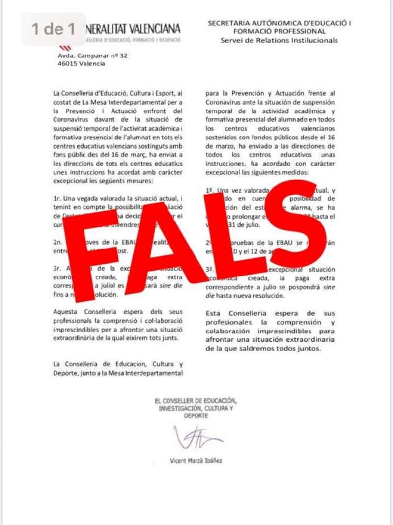 Imagen publicada por la Conselleria de Educación en su cuenta de Twitter desmintiendo el comunicado. EFE