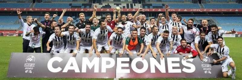 El Castellón, celebrando su ascenso, en una imagen compartida en redes sociales por el club.