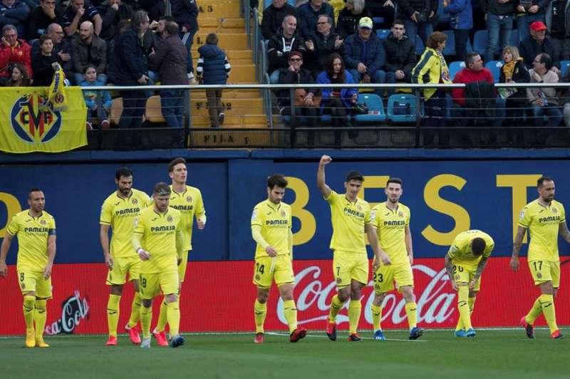Los jugadores del Villarreal celebran un gol del delantero Gerard Moreno ante el Leganés. EFE/Archivo