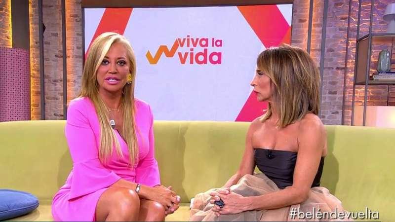 Belén Esteban entrevistada por María Patiño el sábado 31 de agosto. FOTO TELECINCO.ES