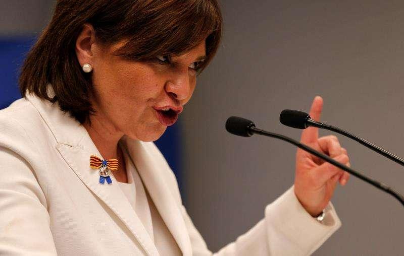 La presidenta del PPCV, Isabel Bonig, en una rueda de prensa. EFE/Archivo