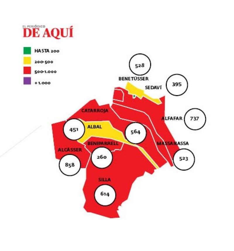 Mapa de la incidencia. EPDA