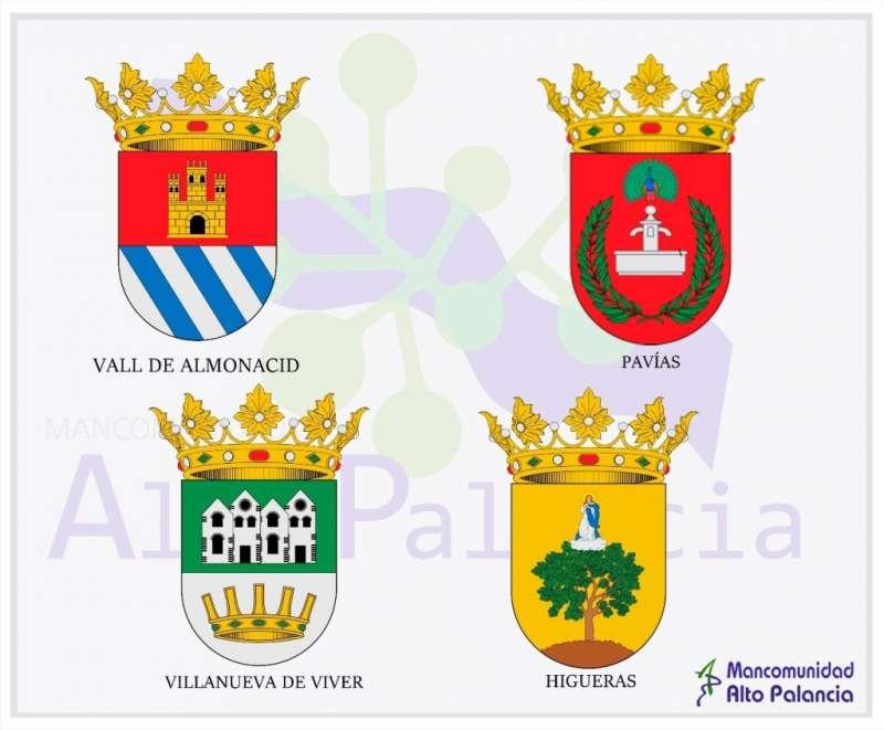 Escudos de los cuatro municipios que ingresan