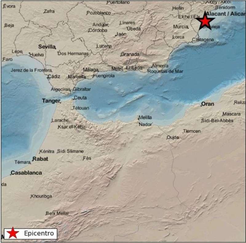 Mapa del Instituto Geográfico Nacional con la ubicación del terremoto