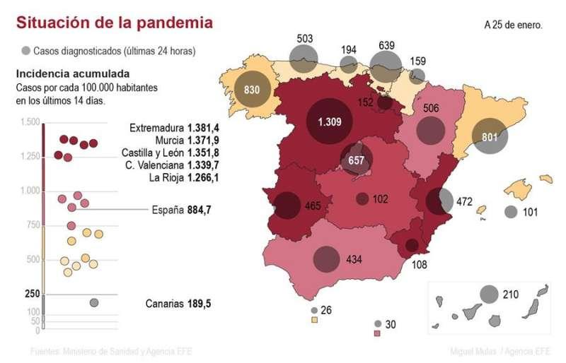 Mapa de contagios hasta el 25 de enero. EFE