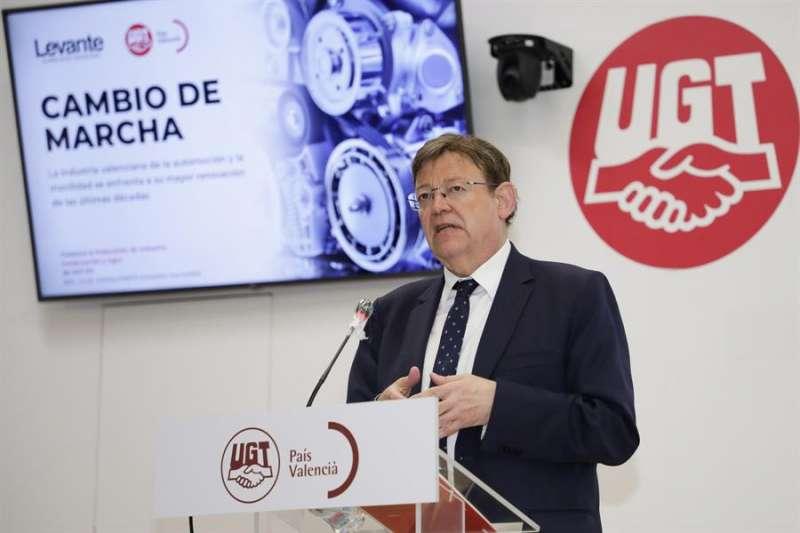El president de la Generalitat, Ximo Puig, durante su intervención. Imagen cedida por la Generalitat. EFE