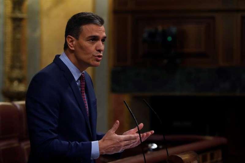 El presidente del Gobierno, Pedro Sánchez, al inicio de su comparecencia este miércoles. EFE