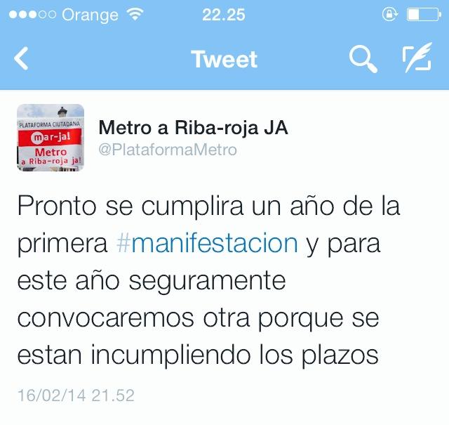 Tweet de la Plataforma Ciudadana Metro Riba-roja anunciando la manifestación