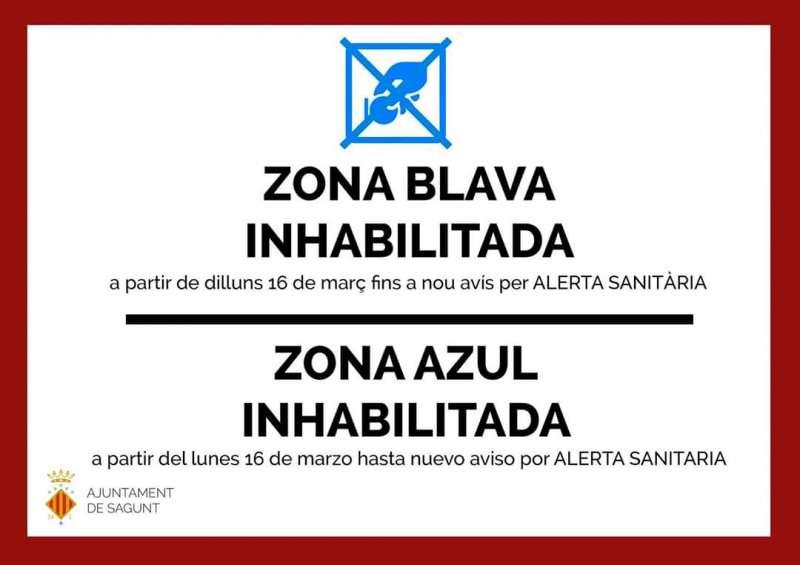 Cartel que informa de la inhabilitación de la zona azul en Sagunt. EPDA