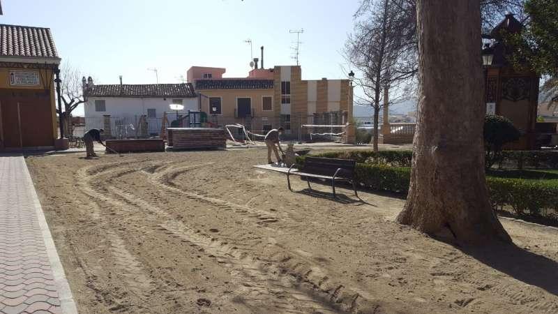 Distribución de arena en la Glorieta