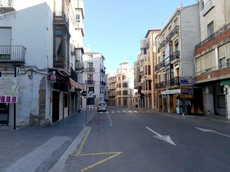 Calle de Colón de Segorbe, por la tarde.
