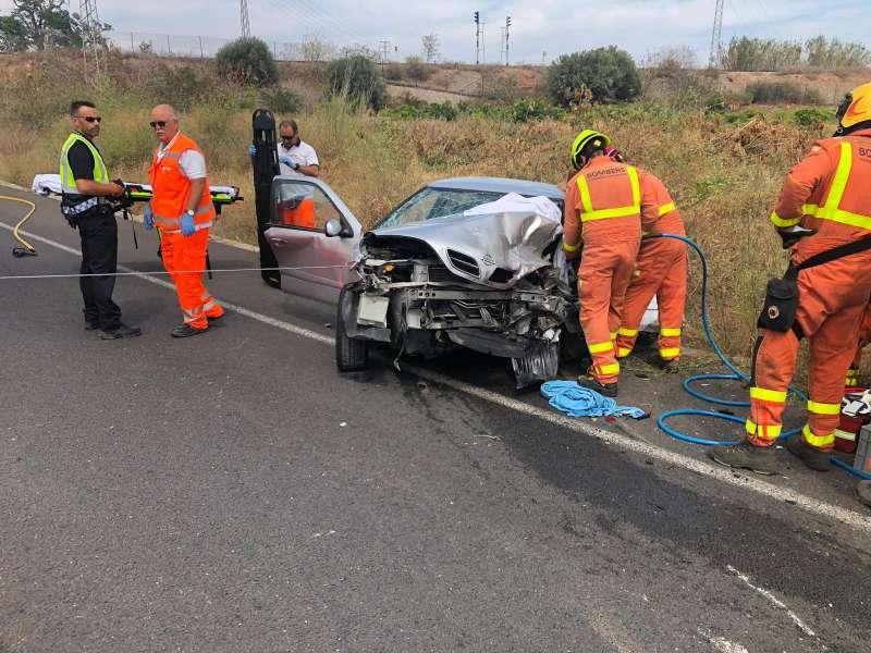 Uno de los coches siniestrados en el accidente. EPDA