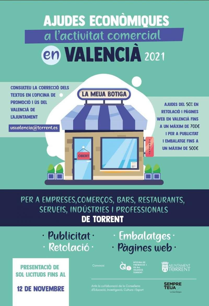Cartell de promoció del valencià en establiments de Torrent.