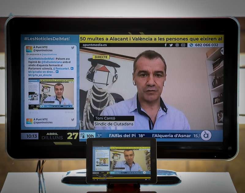 El síndic de Ciudadanos (Cs) en Les Corts valencianas,Toni Cantó en una entrevista de tv. / EPDA