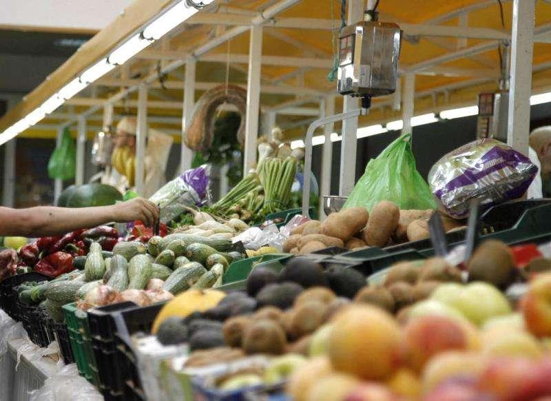 Puesto de frutas y verduras en un mercado. EFE/Archivo