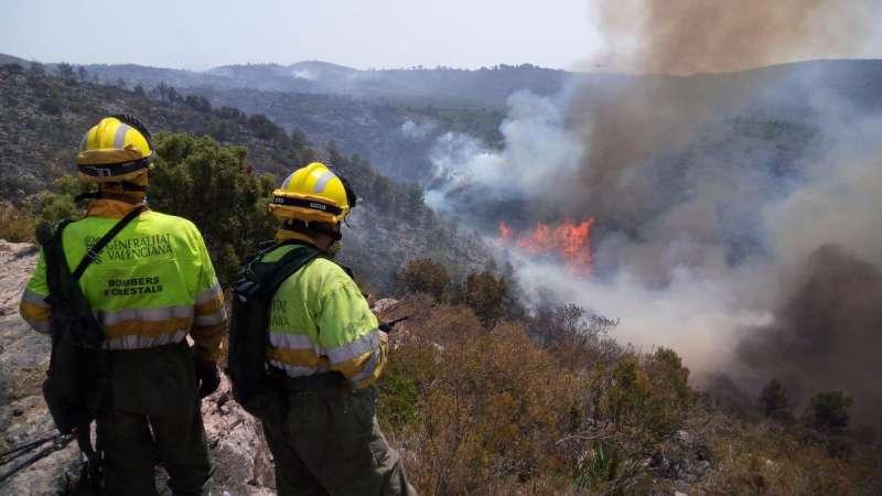 Los bomberos sofocando el fuego de Llutxent. EPDA