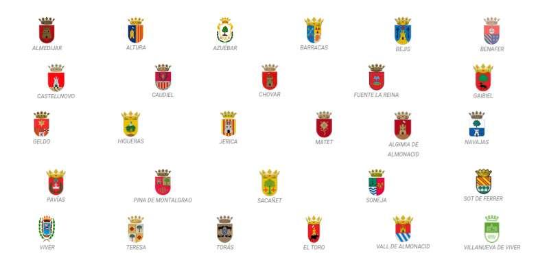 La web de la Mancomunidad con los escudos de los municipios integrados