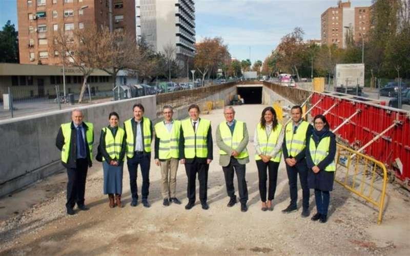 Visita técnica realizada hoy a las obras de la Línea 10 de MetroValencia, en una imagen compartida por la Conselleria de Política Territorial, Obres Públiques i Mobilitat. -EFE