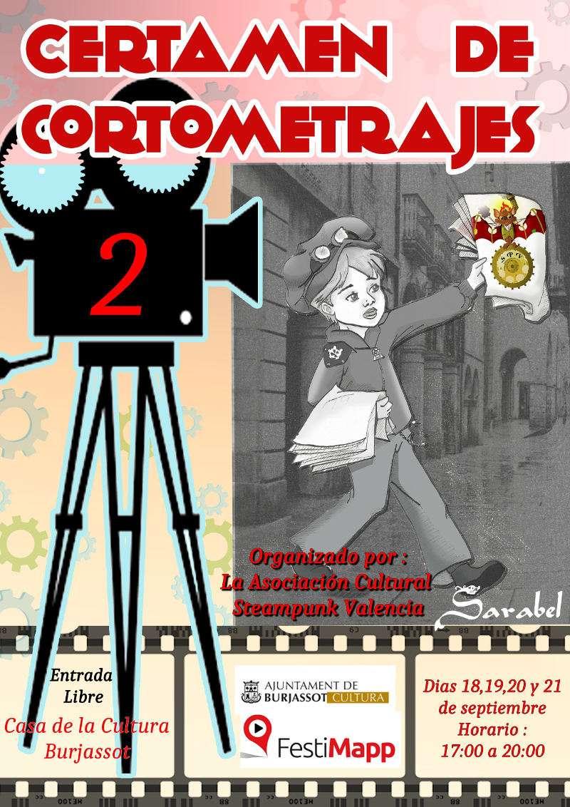 Cartel del del II Certamen de Cortometrajes de Steampunk de Burjassot. EPDA