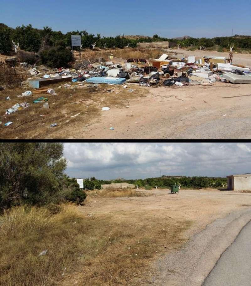 Muestra del estado de uno de los vertederos ilegales antes (superior) y después (inferior) de su retirada por la Brigada municipal de Caminos. EPDA.