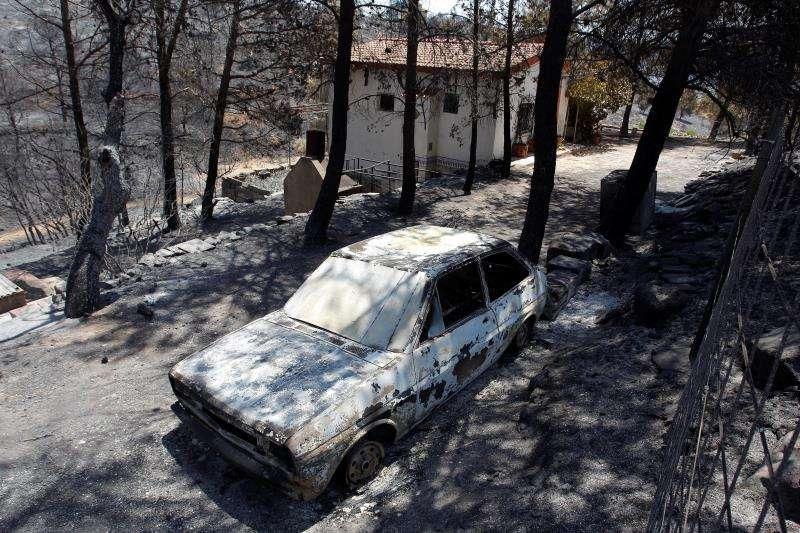 Imagen de la zona afectada por el incendio de Beneixama (Alicante)