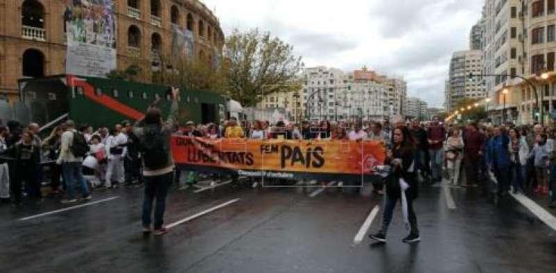 Cabecera de la manifestación. FOTO EFE