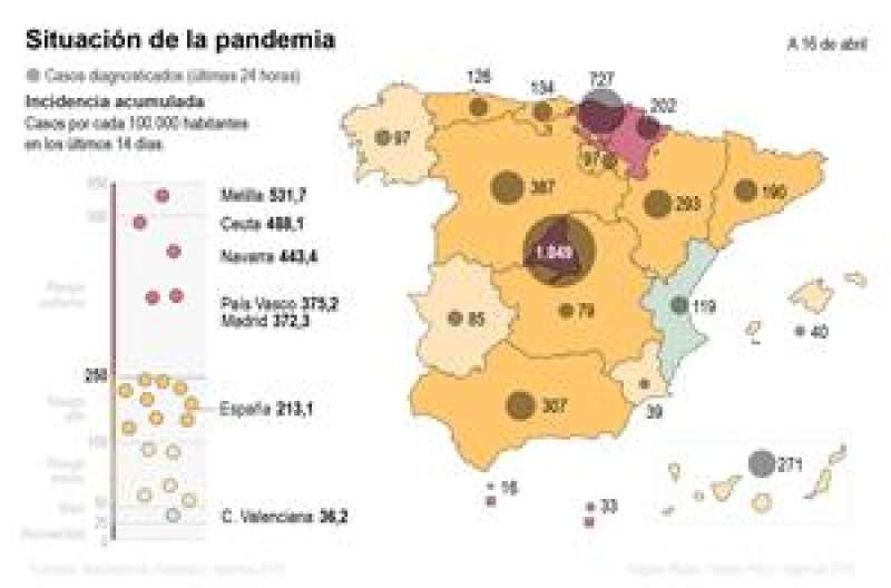 Mapa del coronavirus hasta el viernes 16 de abril. EFE