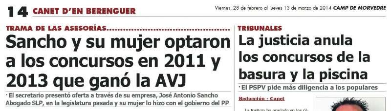 Titular de una información publicada en exclusiva por El Periódico de Aquí.