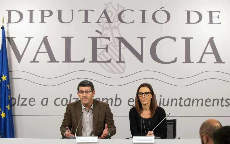 El president de la Diputació de València, Jorge Rodríguez, i la vicepresidenta, Maria Josep Amigó