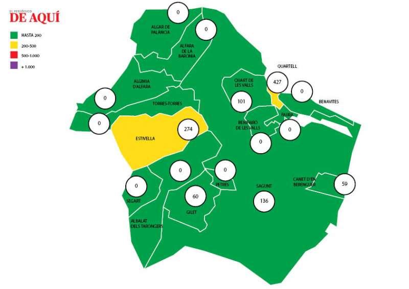 Mapa de la incidencia acumulada en la comarca. EPDA