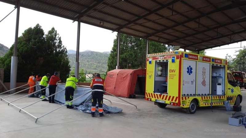 Instalación del hospital de campaña