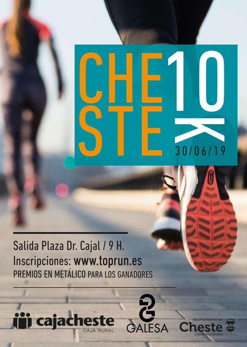 Cartel de la 10K Cheste-Cajacheste. AYUNTAMIENTO DE CHESTE