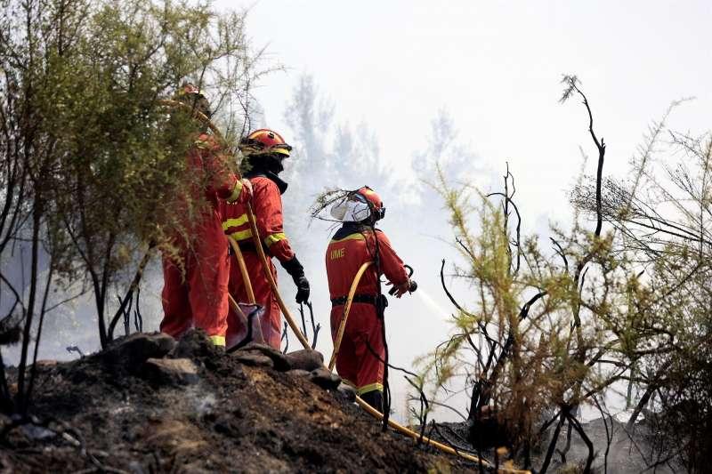 Varios bomberos trabajan en la extinción del incendio forestal de Azuébar (Castellón). EFE/ Domenech Castello