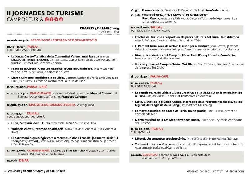 Cronograma de las Jornadas de Turismo./epda