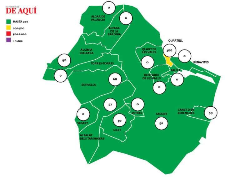 Mapa de la comarca con los datos actualizados.