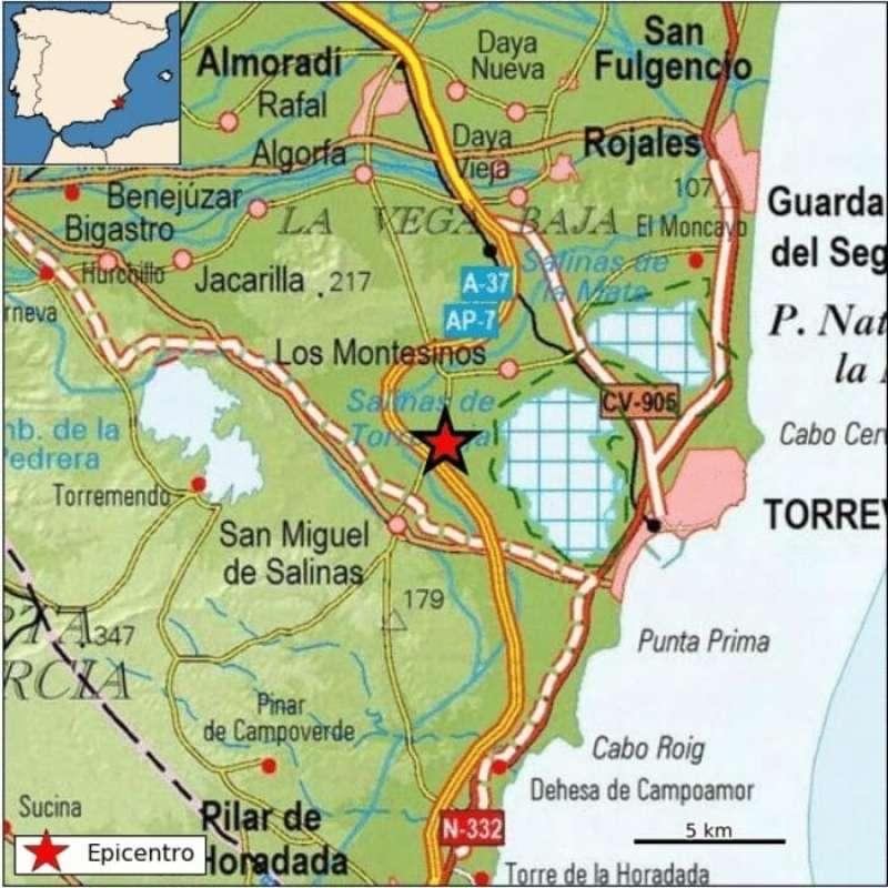 Imagen del Instituto Geográfico Nacional que señala el epicentro del terremoto. EFE/IGN