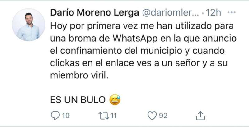 Comentario de Darío Moreno en twitter.