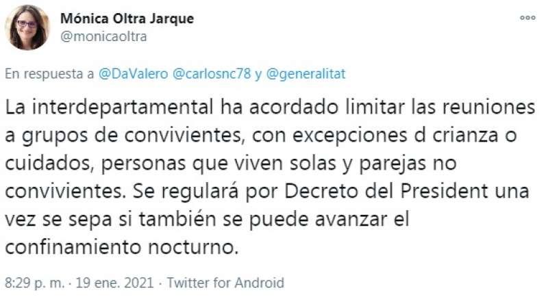 Tweet de Mónica Oltra
