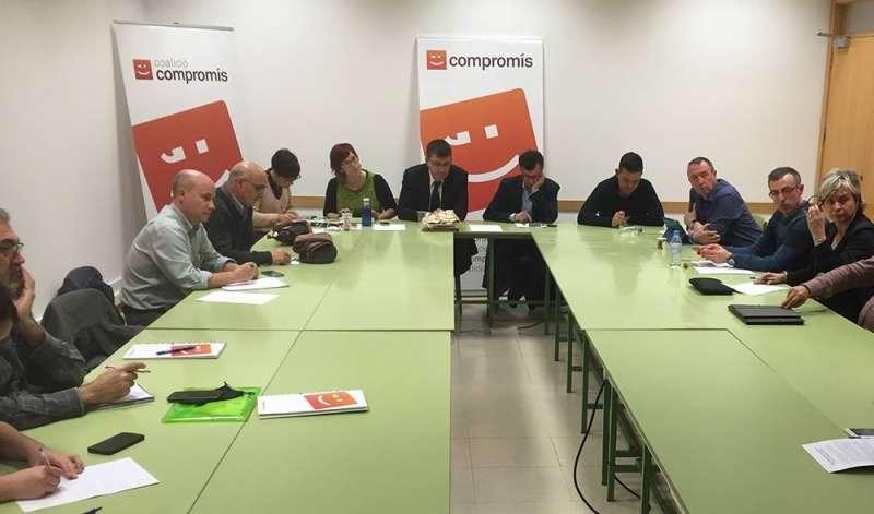 La Comisión Ejecutiva de Compromís reunida ahir