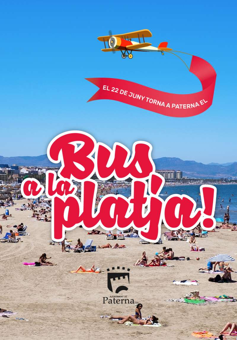 Cartel bus a la playa. EPDA