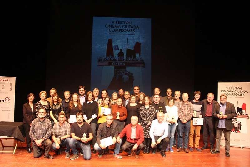 Foto final en la Gala de Cloenda del Festival Cinema Ciutadà Compromés 2019.- EPDA