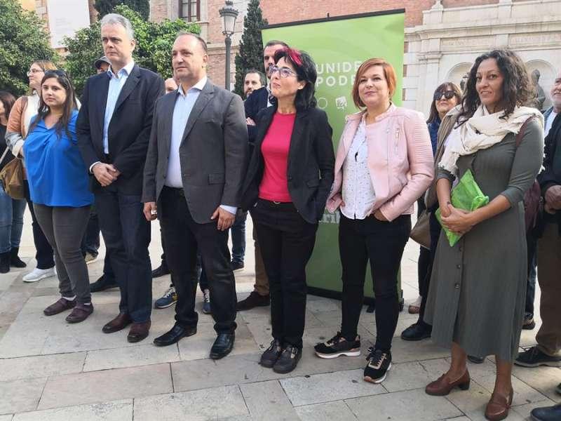 Rubén Martínez Dalmau, durante la presentación este lunes en València de las candidaturas de Unides Podem en la Comunitat Valenciana. EFE