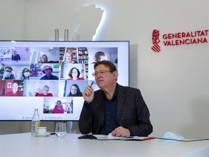 El president de la Generalitat, Ximo Puig, ha mantenido una reunión telemática de coordinación de la vacunación contra la covid-19 con la vicepresidenta del Consell y consellera de Igualdad y Políticas Inclusivas, Mónica Oltra, la consellera de Sanidad, Ana Barceló, y altos cargos y técnicos de este departamento. EFE/Generalitat