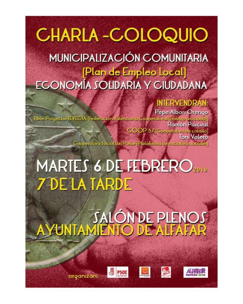 Cartel de la charla sobre el desempleo en Alfafar. EPDA