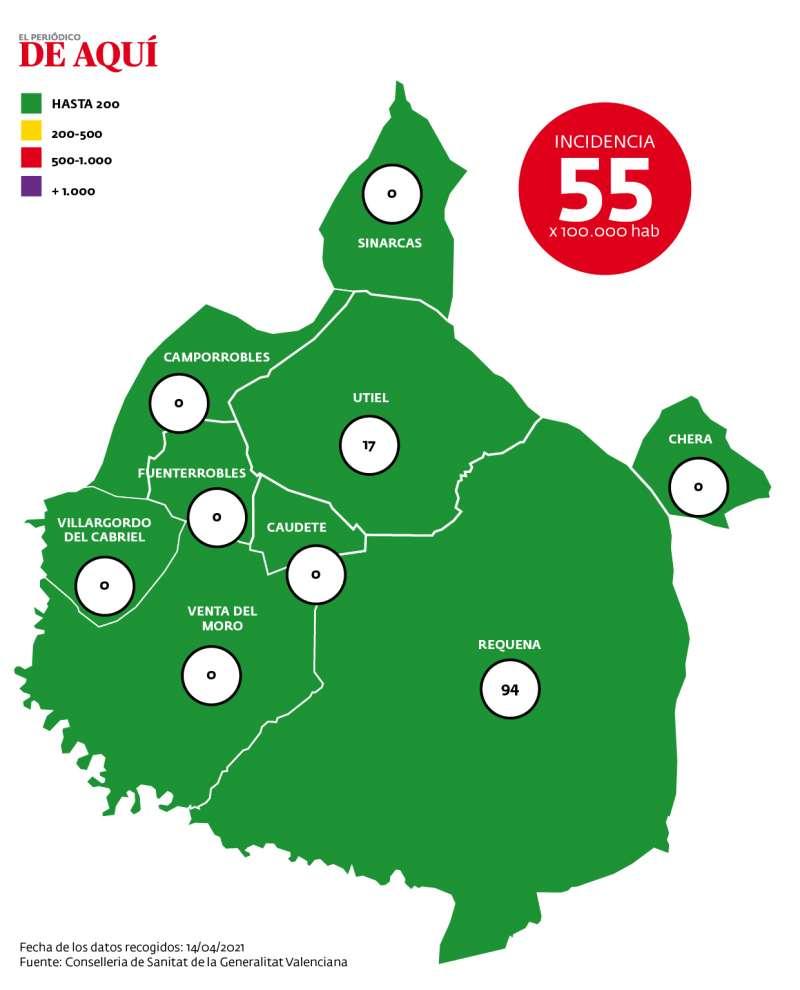 Mapa de incidencia por coronavirus en la comarca según datos de Conselleria registrados el 14 de abril